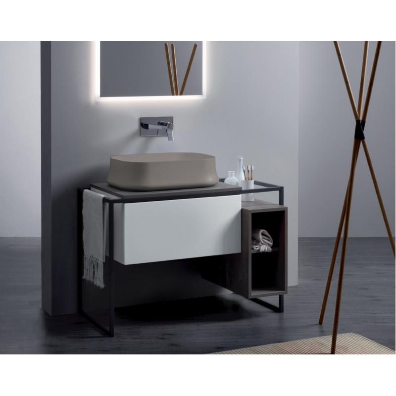 Frame badrumsmöbel 105 cm med grå metallram och trycköppnande låda, matt vit med askgrå top