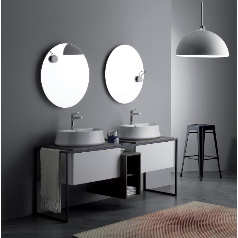 Frame badrumsmöbel 181 cm med grå metallram och trycköppnande lådor, matt vit med askgrå top