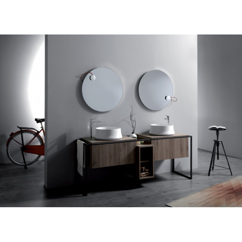 Frame badrumsmöbel 181 cm med grå metallram och trycköppnande lådor, ek